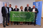 27 May 2019; Attendees, from left, Gerry McGovern, Connacht GAA President, Peter Rooney of John West, Liam McDonagh, Connacht LGFA President, Marie Hickey, President, LGFA, Uachtarán Chumann Lúthchleas Gael John Horan, and Brendy Brien, Chair of the National Féile at the John West Féile na Peil Regional Launch at the Connacht Centre of Excellence, Co. Mayo. Photo by Piaras Ó Mídheach/Sportsfile