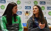 27 May 2019; Mayo ladies footballers Nóirín Moran, left, and Niamh Kelly at the John West Féile na Peil Regional Launch at Connacht Centre of Excellence, Co. Mayo. Photo by Piaras Ó Mídheach/Sportsfile