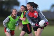 27 May 2019; Kate Doyle of Ballyhaunis, Co Mayo, right, during a ladies football blitz at the John West Féile na Peil Regional Launch at Connacht Centre of Excellence, Co. Mayo. Photo by Piaras Ó Mídheach/Sportsfile