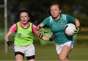27 May 2019; Sarah McDonnell of Claremorris, Co Mayo, right, during a ladies football blitz at the John West Féile na Peil Regional Launch at Connacht Centre of Excellence, Co. Mayo. Photo by Piaras Ó Mídheach/Sportsfile