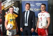 28 May 2019; GPA CEO Paul Flynn, centre, with Ulster University and Antrim footballer Pat Brannigan, left, and Ulster University and Tyrone footballer Michael McKernan at the GPA UUJ Scholarship Launch at Ulster University's Jordanstown Campus in Newtownabbey, Co. Antrim. Photo by Oliver McVeigh/Sportsfile