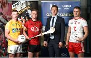 28 May 2019; GPA CEO Paul Flynn, second from left, with Ulster University and Antrim footballer Pat Brannigan, left, Ulster University and Down hurler Mark Fisher and Ulster University and Tyrone footballer Michael McKernan at the GPA UUJ Scholarship Launch at Ulster University's Jordanstown Campus in Newtownabbey, Co. Antrim. Photo by Oliver McVeigh/Sportsfile