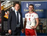 28 May 2019; GPA CEO Paul Flynn, left, and Ulster University and Tyrone footballer Michael McKernan at the GPA UUJ Scholarship Launch at Ulster University's Jordanstown Campus in Newtownabbey, Co. Antrim. Photo by Oliver McVeigh/Sportsfile