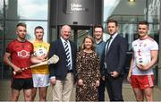 28 May 2019; Ulster University and Down hurler Mark Fisher, left, with, from left to right, Ulster University and Antrim footballer Pat Brannigan, Ulster University GAA President Dr John Farrell, Ulster University Director of Campus Life Amanda Castray, Ulster University Student support manager David Flynn, GPA CEO Paul Flynn, and Ulster University and Tyrone footballer Michael McKernan at the GPA UUJ Scholarship Launch at Ulster University's Jordanstown Campus in Newtownabbey, Co. Antrim. Photo by Oliver McVeigh/Sportsfile