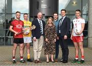 28 May 2019; Mark Fisher Ulster University and Down Hurler, Pat Brannigan, Ulster University and Antrim footballer, Dr John Farrell Ulster University GAA President, Amanda Castray Ulster University Director of campus life. David Flynn Ulster University Student support manager, Paul Flynn GPA CEO, and Michael McKernan, Ulster University and Tyrone footballer at the GPA UUJ Scholarship Launch at Ulster University's Jordanstown Campus in Newtownabbey, Co. Antrim. Photo by Oliver McVeigh/Sportsfile