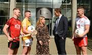 28 May 2019; Mark Fisher Ulster University and Down Hurler, Pat Brannigan, Ulster University and Antrim footballer, Amanda Castray Ulster University Director of campus life. Paul Flynn GPA CEO, and Michael McKernan, Ulster University and Tyrone footballer at the GPA UUJ Scholarship Launch at Ulster University's Jordanstown Campus in Newtownabbey, Co. Antrim. Photo by Oliver McVeigh/Sportsfile