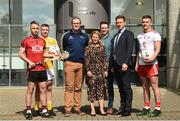 28 May 2019; Ulster University and Down hurler Mark Fisher, left, with, from left to right, Ulster University and Antrim footballer Pat Brannigan, Ulster University Director of Campus Life Amanda Castray, GPA CEO Paul Flynn, and Ulster University and Tyrone footballer Michael McKernan at the GPA UUJ Scholarship Launch at Ulster University's Jordanstown Campus in Newtownabbey, Co. Antrim. Photo by Oliver McVeigh/Sportsfile