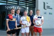 28 May 2019; Ulster University and Down hurler Mark Fisher, left, with from left to right, GPA CEO Paul Flynn, Ulster University and Antrim footballer Pat Brannigan, Ulster University GAA Development Officer Paul Rouse and Ulster University and Tyrone footballer Michael McKernan at the GPA UUJ Scholarship Launch at Ulster University's Jordanstown Campus in Newtownabbey, Co. Antrim. Photo by Oliver McVeigh/Sportsfile