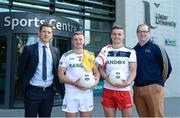 28 May 2019; GPA CEO Paul Flynn, left, with, from left to right, Ulster University and Antrim footballer Pat Brannigan, Ulster University and Tyrone footballer Michael McKernan, and Ulster University GAA Development Officer Paul Rouse at the GPA UUJ Scholarship Launch at Ulster University's Jordanstown Campus in Newtownabbey, Co. Antrim. Photo by Oliver McVeigh/Sportsfile
