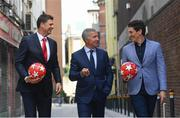 28 May 2019; Virgin Media pundits Niall Quinn, left, Graeme Souness, centre, and Keith Andrews pictured at Virgin Media Television's launch to celebrate Finals Week with live coverage of the UEFA Europa League Final & the UEFA Champions League Final. Virgin Media Television is the home of European Football this week with live coverage of the UEFA Europa League Final on Wednesday 29th May from 6.30pm on both Virgin Media Two & Virgin Media Sport and the UEFA Champions League Final on Saturday 1st June from 6pm on Virgin Media One & Virgin Media Sport. Photo by Ramsey Cardy/Sportsfile