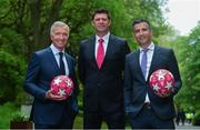 28 May 2019; Virgin Media pundits Graeme Souness, left, and Niall Quinn, centre, with presenter Tommy Martin pictured at Virgin Media Television's launch to celebrate Finals Week with live coverage of the UEFA Europa League Final & the UEFA Champions League Final. Virgin Media Television is the home of European Football this week with live coverage of the UEFA Europa League Final on Wednesday 29th May from 6.30pm on both Virgin Media Two & Virgin Media Sport and the UEFA Champions League Final on Saturday 1st June from 6pm on Virgin Media One & Virgin Media Sport. Photo by Ramsey Cardy/Sportsfile