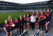 28 May 2019; In attendence at today's sponsorship launch between Cuala and Amgen at Croke Park in Dublin is Cuala ladies footballer and camogie players, from left, Sinead Wylde, Siobhan Ni Ceallaigh, Cliodhna Reidy, Shauna Curtis, Vice President of Amgen Allen Harmon, Orlaith O'Sullivan, Hannah O'Dea, Doireann Ní Shióchain, Director of HR at Amgen Olive Casey, Bláithín Lane, Jennifer Dunne, Roisin O'Grady, Sinéad Ruigrok, Jennifer Byrne which is the first ever GAA club sponsorship to include education and employment incentives. Photo by Harry Murphy/Sportsfile