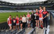 28 May 2019; In attendence at today's sponsorship launch between Cuala and Amgen at Croke Park in Dublin is Cuala's county football, ladies football and camogie players, from left, Peadar O'Coifigh Byrne, Hannah O'Dea, Conor Mullaly, Sinead Wylde, Director of HR at Amgen Olive Casey, Con O'Callaghan, VP of Amgen Allen Harmon, Jennifer Dunne, Michael Fitzsimons and Roisin O'Grady which is the first ever GAA club sponsorship to include education and employment incentives. Photo by Harry Murphy/Sportsfile