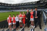 28 May 2019; In attendence at today's sponsorship launch between Cuala and Amgen at Croke Park in Dublin is Cuala footballers Peadar O'Coifigh Byrne and Conor Mullaly, Cuala PR Officer Paul Cahill, Cuala footballer Michael Fitsimons, Laoise O'Murchu of Amgen, Uachtaráin Cumann Lúthchleas Gael John Horan, Footballer Con O'Callaghan and Former Cuala Chairman Des Cahill, which is the first ever GAA club sponsorship to include education and employment incentives. Photo by Harry Murphy/Sportsfile
