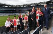 28 May 2019; In attendence at today's sponsorship launch between Cuala and Amgen at Croke Park in Dublin is Cuala's county football, ladies football and camogie players, from left, Camogie Selector Siobhan Sheehan, Peadar O'Coifigh Byrne, Hannah O'Dea, Conor Mullaly, Director of HR at Amgen Olive Casey, Sinead Wylde, Cuala Chairman Damien McKeown,  Con O'Callaghan, VP of Amgen Allen Harmon, Uachtaráin Cumann Lúthchleas Gael John Horan, Jennifer Dunne, Michael Fitzsimons, Roisin O'Grady and Cuala Football Chairman Brian Mullaly which is the first ever GAA club sponsorship to include education and employment incentives. Photo by Harry Murphy/Sportsfile