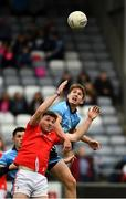 25 May 2019; Sam Mulroy of Louth in action against Michael Fitzsimons of Dublin during the Leinster GAA Football Senior Championship Quarter-Final match between Louth and Dublin at O'Moore Park in Portlaoise, Laois. Photo by Ray McManus/Sportsfile