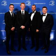 28 May 2019; On arrival at the Leinster Rugby Champions of 2009 Gala Dinner, proudly supported by Bank of Ireland, is Jonathan Sexton, 2009 captain and current head coach Leo Cullen, 2009 head coach Michael Cheika and Brian O'Driscoll. The Gala Dinner was held in celebration of Leinster Rugby's first ever Heineken Cup triumph in 2009 when they beat Leicester Tigers 16-19 in the Final in Murrayfield. The squad and coaches from 2009, were celebrated at a Gala Dinner at the RDS, proudly supported by Bank of Ireland and in association with Diageo, InterContinental Dublin and Off The Ball.com. Photo by Ramsey Cardy/Sportsfile