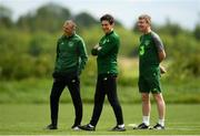 28 May 2019; Republic of Ireland manager Stephen Kenny, right with assistant Jim Crawford, left and Keith Andrews during a Republic of Ireland U21's training session at Johnstown House Hotel in Enfield, Co Meath. Photo by Eóin Noonan/Sportsfile