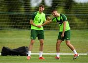 28 May 2019; Conor Masterson, left, with Zach Elbouzebi during a Republic of Ireland U21's training session at Johnstown House Hotel in Enfield, Co Meath. Photo by Eóin Noonan/Sportsfile