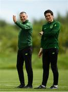 28 May 2019; Republic of Ireland assistant coaches Jim Crawford, left, and Keith Andrews, right, during a Republic of Ireland U21's training session at Johnstown House Hotel in Enfield, Co Meath. Photo by Eóin Noonan/Sportsfile