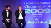 28 May 2019; Shane Horgan, left, and Michael Cheika during the Leinster Rugby Champions of 2009 Gala Dinner, proudly supported by Bank of Ireland. The Gala Dinner was held in celebration of Leinster Rugby's first ever Heineken Cup triumph in 2009 when they beat Leicester Tigers 16-19 in the Final in Murrayfield. The squad and coaches from 2009, were celebrated at a Gala Dinner at the RDS, proudly supported by Bank of Ireland and in association with Diageo, InterContinental Dublin and Off The Ball.com. Photo by Ramsey Cardy/Sportsfile