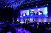 28 May 2019; Brian O'Driscoll, left, Shane Horgan, centre, and Michael Cheika during the Leinster Rugby Champions of 2009 Gala Dinner, proudly supported by Bank of Ireland. The Gala Dinner was held in celebration of Leinster Rugby's first ever Heineken Cup triumph in 2009 when they beat Leicester Tigers 16-19 in the Final in Murrayfield. The squad and coaches from 2009, were celebrated at a Gala Dinner at the RDS, proudly supported by Bank of Ireland and in association with Diageo, InterContinental Dublin and Off The Ball.com. Photo by Ramsey Cardy/Sportsfile