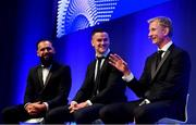 28 May 2019; Isa Nacewa, left, Jonathan Sexton, centre, and Leo Cullen during the Leinster Rugby Champions of 2009 Gala Dinner, proudly supported by Bank of Ireland. The Gala Dinner was held in celebration of Leinster Rugby's first ever Heineken Cup triumph in 2009 when they beat Leicester Tigers 16-19 in the Final in Murrayfield. The squad and coaches from 2009, were celebrated at a Gala Dinner at the RDS, proudly supported by Bank of Ireland and in association with Diageo, InterContinental Dublin and Off The Ball.com. Photo by Ramsey Cardy/Sportsfile