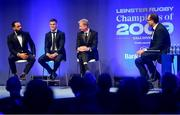 28 May 2019; Isa Nacewa, left, Jonathan Sexton, centre, and Leo Cullen with MC Martin Bayfield during the Leinster Rugby Champions of 2009 Gala Dinner, proudly supported by Bank of Ireland. The Gala Dinner was held in celebration of Leinster Rugby's first ever Heineken Cup triumph in 2009 when they beat Leicester Tigers 16-19 in the Final in Murrayfield. The squad and coaches from 2009, were celebrated at a Gala Dinner at the RDS, proudly supported by Bank of Ireland and in association with Diageo, InterContinental Dublin and Off The Ball.com. Photo by Ramsey Cardy/Sportsfile