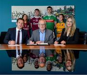 29 May 2019; In attendance at the GPA WGPA GMIT Scholarship Launch are, front from left, Paul Flynn, CEO of GPA, Des Foley, Acting VP OF Academic Affairs and Registrar at GMIT, and Lorraine Ryan, WGPA Executive, with players, from left, Galway camogie player Tara Kenny, Galway hurler Jack Coyne, Mayo footballer James McCormack, and Leitrim ladies footballer Bronagh O'Rourke, at Galway-Mayo Institute of Technology in Galway. Photo by Piaras Ó Mídheach/Sportsfile