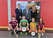 29 May 2019; In attendance at the GPA WGPA GMIT Scholarship Launch are, back row from left, Paul Flynn, CEO of GPA, Des Foley, Acting VP OF Academic Affairs and Registrar at GMIT, and Lorraine Ryan, WGPA Executive. Front row, Galway hurler Jack Coyne, Mayo footballer James McCormack, Leitrim ladies footballer Bronagh O'Rourke, and Galway camogie player Tara Kenny, at Galway-Mayo Institute of Technology in Galway. Photo by Piaras Ó Mídheach/Sportsfile
