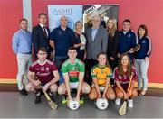 29 May 2019; In attendance at the GPA WGPA GMIT Scholarship Launch are, back row from left, Noel Connors, GPA National Education Officer, Paul Flynn, CEO of GPA, Ed Daly, Lecturer at GMIT, Lisa Ryan, Head of Department at School of Science and Computing at GMIT, Des Foley, Acting VP OF Academic Affairs and Registrar at GMIT, Lorraine Ryan, WGPA Executive, Damian Curley, GMIT Development Officer, and Molly Dunne, GMIT Sports Officer. Front row, Galway hurler Jack Coyne, Mayo footballer James McCormack, Leitrim ladies footballer Bronagh O'Rourke, and Galway camogie player Tara Kenny, at Galway-Mayo Institute of Technology in Galway. Photo by Piaras Ó Mídheach/Sportsfile