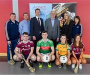 29 May 2019; In attendance at the GPA WGPA GMIT Scholarship Launch are, back row from left,  Damian Curley, GMIT Development Officer, Noel Connors, GPA National Education Officer, Paul Flynn, CEO of GPA, Des Foley, Acting VP OF Academic Affairs and Registrar at GMIT, Lorraine Ryan, WGPA Executive, and Molly Dunne, GMIT Sports Officer. Front row, Galway hurler Jack Coyne, Mayo footballer James McCormack, Leitrim ladies footballer Bronagh O'Rourke, and Galway camogie player Tara Kenny, at Galway-Mayo Institute of Technology in Galway. Photo by Piaras Ó Mídheach/Sportsfile