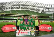 29 May 2019; The SPAR FAI Primary School 5s National Finals took place in AVIVA Stadium on Wednesday, May 29, where former Republic of Ireland International Keith Andrews and current Republic of Ireland women's footballer, Megan Campbell were in attendance supporting as girls and boys from 13 counties battled it out for national honours. The 2019 SPAR FAI Primary School 5s Programme was the biggest yet with a record 37,448 participants from 1,696 schools taking part in county, regional and provincial blitzes nationwide. Pictured is the  Clarinbridge NS team, Co. Galway, at the Aviva Stadium in Dublin. Photo by Harry Murphy/Sportsfile