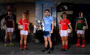 30 May 2019; In attendance at SuperValu GAA Sponsorship Launch 2019 at D-Light Studios in Dublin are, from left, Damien Comer of Galway, Valerie Mulcahy of Cork, Bernard Brogan of Dublin Doireann O'Sullivan of Cork and Andy Moran of Mayo. SuperValu today launched their 10th year as sponsor of the GAA Football All-Ireland Senior Championship. Joined by their GAA ambassadors Bernard Brogan, Andy Moran, Damien Comer, Doireann O'Sullivan and Valerie Mulcahy – SuperValu revealed that they will contribute over €2.6 million to the GAA and GAA Clubs across the country, this year. Throughout their 10-years as GAA sponsor, SuperValu has contributed over €18 million to aid the development of our national sport. Photo by Sam Barnes/Sportsfile