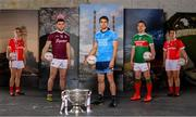 30 May 2019; In attendance at SuperValu GAA Sponsorship Launch 2019 at D-Light Studios in Dublin are, from left, Valerie Mulcahy of Cork, Damien Comer of Galway, Bernard Brogan of Dublin, Andy Moran of Mayo and Doireann O'Sullivan of Cork, with the Sam Maguire Cup. SuperValu today launched their 10th year as sponsor of the GAA Football All-Ireland Senior Championship. Joined by their GAA ambassadors Bernard Brogan, Andy Moran, Damien Comer, Doireann O'Sullivan and Valerie Mulcahy – SuperValu revealed that they will contribute over €2.6 million to the GAA and GAA Clubs across the country, this year. Throughout their 10-years as GAA sponsor, SuperValu has contributed over €18 million to aid the development of our national sport. Photo by Sam Barnes/Sportsfile