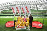 29 May 2019; The SPAR FAI Primary School 5s National Finals took place in AVIVA Stadium on Wednesday, May 29, where former Republic of Ireland International Keith Andrews and current Republic of Ireland women's footballer, Megan Campbell were in attendance supporting as girls and boys from 13 counties battled it out for national honours. The 2019 SPAR FAI Primary School 5s Programme was the biggest yet with a record 37,448 participants from 1,696 schools taking part in county, regional and provincial blitzes nationwide. Pictured are players and coaches from St. Joeseph's BNS, Co Monaghan. Photo by David Fitzgerald/Sportsfile