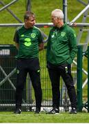 30 May 2019; Republic of Ireland manager Mick McCarthy speaks with Republic of Ireland U21's manager Stephen Kenny following the Friendly match between Republic of Ireland and Republic of Ireland U21's at the FAI National Training Centre in Dublin. Photo by Harry Murphy/Sportsfile