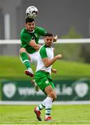 30 May 2019; John Egan of Republic of Ireland in action against Zachary Elbouzedi of Republic of Ireland U21's during the Friendly match between Republic of Ireland and Republic of Ireland U21's at the FAI National Training Centre in Dublin. Photo by Harry Murphy/Sportsfile