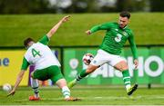 30 May 2019; Scott Hogan of Republic of Ireland in action against Conor Masterson of Republic of Ireland U21's during the Friendly match between Republic of Ireland and Republic of Ireland U21's at the FAI National Training Centre in Dublin. Photo by Harry Murphy/Sportsfile