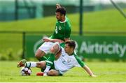 30 May 2019; Enda Stevens of Republic of Ireland in action against Lee O'Connor of Republic of Ireland U21's during the Friendly match between Republic of Ireland and Republic of Ireland U21's at the FAI National Training Centre in Dublin. Photo by Harry Murphy/Sportsfile
