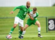 30 May 2019; David McGoldrick of Republic of Ireland in action against Dara O'Shea of Republic of Ireland U21's during the Friendly match between Republic of Ireland and Republic of Ireland U21's at the FAI National Training Centre in Dublin. Photo by Harry Murphy/Sportsfile
