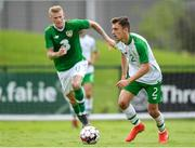 30 May 2019; Lee O'Connor of Republic of Ireland U21's in action against James McClean of Republic of Ireland during the Friendly match between Republic of Ireland and Republic of Ireland U21's at the FAI National Training Centre in Dublin. Photo by Harry Murphy/Sportsfile