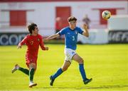 13 May 2019; Matteo Ruggeri of Italy and Henrique Pereira of Portugal during the 2019 UEFA European Under-17 Championships quarter-final match between Italy and Portugal at Tolka Park in Dublin. Photo by Stephen McCarthy/Sportsfile