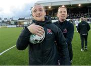 31 May 2019; John Mountney of Dundalk along with Dundalk head coach Vinny Perth celebrates with the match ball after the SSE Airtricity League Premier Division match between Dundalk and Sligo Rovers at Oriel Park in Dundalk, Louth. Photo by Oliver McVeigh/Sportsfile