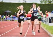 1 June 2019; Erin Leavy of St Vincent's Dundalk, Co. Louth, right, on her way to winning the Minor Girls 800m, ahead of Aoife Brown of Castleknock Community School, Co. Dublin, who was disqualified, during the Irish Life Health All-Ireland Schools Track and Field Championships in Tullamore, Co Offaly. Photo by Sam Barnes/Sportsfile