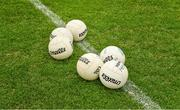 25 May 2019; O'Neills Gaelic footballs on the pitch before the Leinster GAA Football Senior Championship Quarter-Final match between Carlow and Meath at O'Moore Park in Portlaoise, Laois. Photo by Ray McManus/Sportsfile