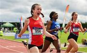 1 June 2019; Niamh Moohan of Abbey Vocational School, Co. Donegal, celebrates winning the Inter Girls 80m Hurdles event during the Irish Life Health All-Ireland Schools Track and Field Championships in Tullamore, Co Offaly. Photo by Sam Barnes/Sportsfile