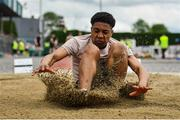 1 June 2019; Sam Ukaga of St Brigids College Loughrea, Co. Galway, competing in the Senior Boys Long Jump event during the Irish Life Health All-Ireland Schools Track and Field Championships in Tullamore, Co Offaly. Photo by Sam Barnes/Sportsfile