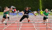 1 June 2019; Okwu Backar of Ashton, Co. Cork, competing in the Minor Girls 75m Hurdles event during the Irish Life Health All-Ireland Schools Track and Field Championships in Tullamore, Co Offaly. Photo by Sam Barnes/Sportsfile