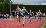 1 June 2019; Louis O'Loughlin of Moyle Park, Co. Dublin, left, and Cian McPhillips of Moate Community School, Co. Westmeath, competing in the Senior Boys 800m event during the Irish Life Health All-Ireland Schools Track and Field Championships in Tullamore, Co Offaly. Photo by Sam Barnes/Sportsfile